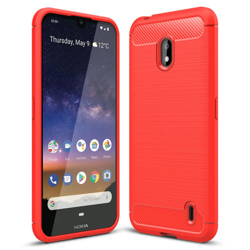 Flexi Slim Carbon Fibre Case for Nokia 2.2 - Brushed Red